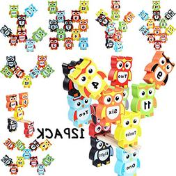 YOUOWO 12 Pcs Wooden Children Stacking Toy Owl Shapes color