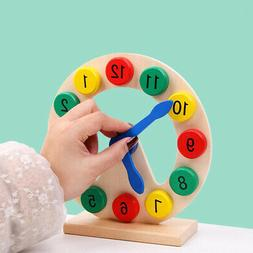 Wooden Clock Toy Teaching Tool 12-Hour Clock Time Learning T
