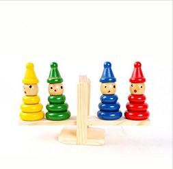 URToys Wooden Clown Rainbow Stacker Seesaw Balance Scale Boa