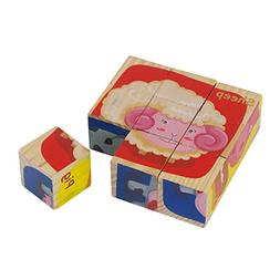Wooden Farm Animal Block Puzzle 6 puzzles in 1 Jigsaw Wood C