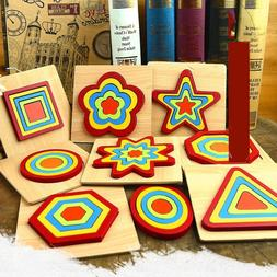 Wooden <font><b>Nesting</b></font> Geometric Puzzle Blocks E