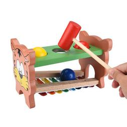 Wooden Hammering&Pounding Toys+8 Notes Xylophone+Shape Color