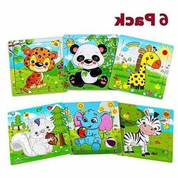 Wooden Jigsaw Puzzles for Toddlers Kids Animals Puzzles Set