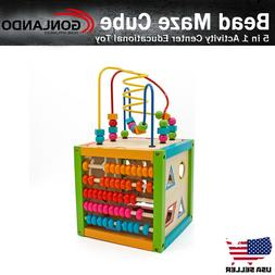 Wooden Learning Bead Maze Cube 5 in 1 Activity Center Educat
