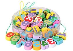 MochoHome 85 Pieces Wooden Numbers and Math Signs Lacing Bea