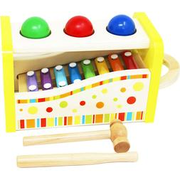 Wooden Pound & Tap Bench Xylophone Toy Baby Shape Sorter Tod