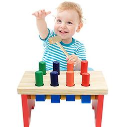 NEOWOWS Pounding Bench Wooden Toy with Mallet Deluxe Early E