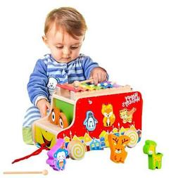 Wooden Push Pull Truck Toy Shape Sorter Wooden Music Toy for