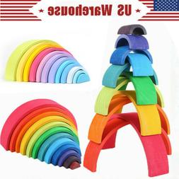 Wooden Rainbow Stacker Building Blocks Stacking Nesting Toys