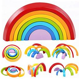 Lewo Wooden Rainbow Stacking Game Learning Toy Geometry Buil