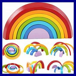 Wooden RAINBOW Stacking Toys 7Pcs Nesting Game Educational L