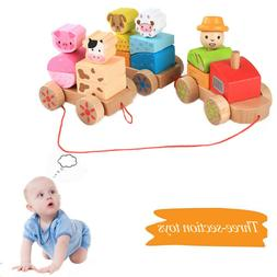 Wooden Rocking Farm Animals Pull Train Toys Baby Rock Baby T