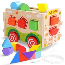 JOYNOTE Large Wooden Shape Sorter Bus with Tangram Classic 3