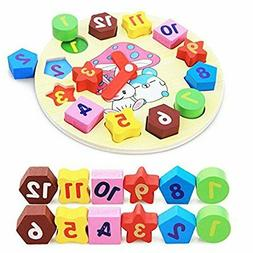5 Years Old Teach Your Kid to Tell Time 4 FANSUSENKE Shape Sorting Clock Wooden Kid Teaching Learning Clock Early Educational Toys Clock with Numbers /& Shapes Games Gifts for Kids Boys Girls 3