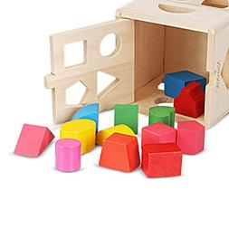 Wooden Shape Sorting Cube Classic Square Shape Sorter Baby F