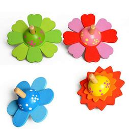 Wooden Spinning Tops Educational Painted Flower Rotating Gyr