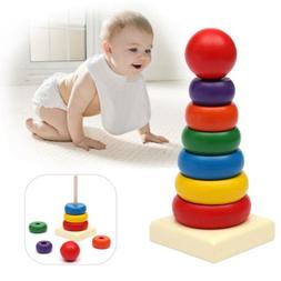 Kids Baby Toy Wooden Stacking Ring Tower Educational Toys Ra