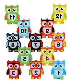 Naovio 12 Pcs Wooden Children Stacking Toy Owl Shapes Stacki
