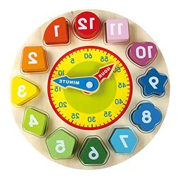 Wooden Teaching Puzzle Clock Toys - Kids Toy with Numbers an