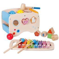 Lewo Wooden Toddlers Musical Toys Pound Tap Bench Xylophone