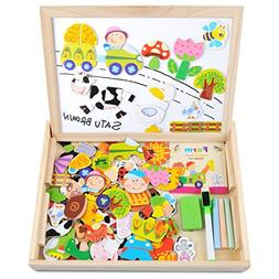 Wooden Toy Magnetic Board Puzzle Games , Double Side Jigsaw