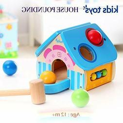 TKMom Wooden Learning Pounding House with Toy Hammer for Bab