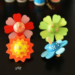 Wooden Toys Flower Rotate Baby Wood Toys For Kids Spinning T