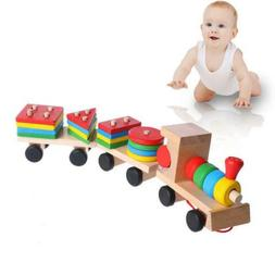 Wooden Train Building Blocks Educational Learning Toys Set F