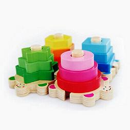 Wooden Turtle Puzzle Stacking Toy, Shape Sorter Towers for B
