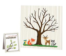 Lillian Rose Woodland Baby Shower Guest Signing Canvas, Neut