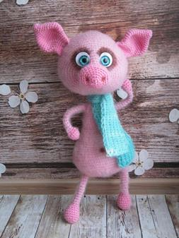 wool knitted piggy cute toy piglet pink