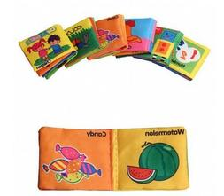 XMJ 6-PACK Baby Soft Cloth Book ,Soft Rattle Paper Cloth Boo
