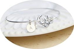 Yoga Ohm Om Bangle Bracelet- Personalized Initial and Zodiac